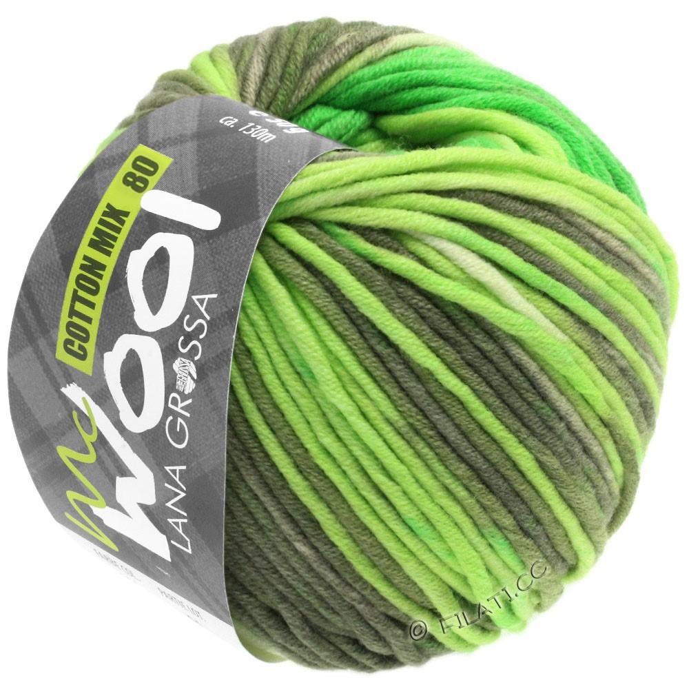 Lana Grossa COTTON MIX 80 Print (McWool) | 906-luminous green/light green/subtle green/khaki