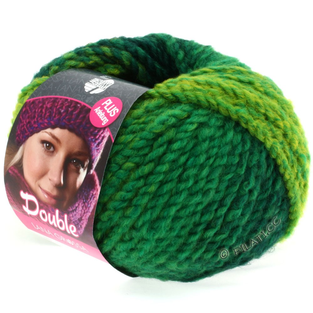 Lana Grossa DOUBLE   10-emerald/yellow/blue/dark green