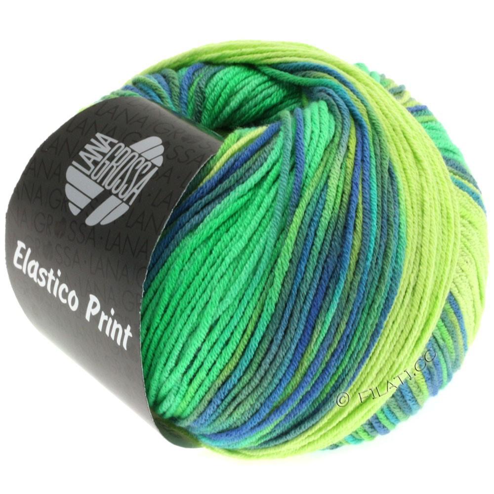 Lana Grossa ELASTICO  Uni/Print | 501-light green/luminous green/royal/gray green