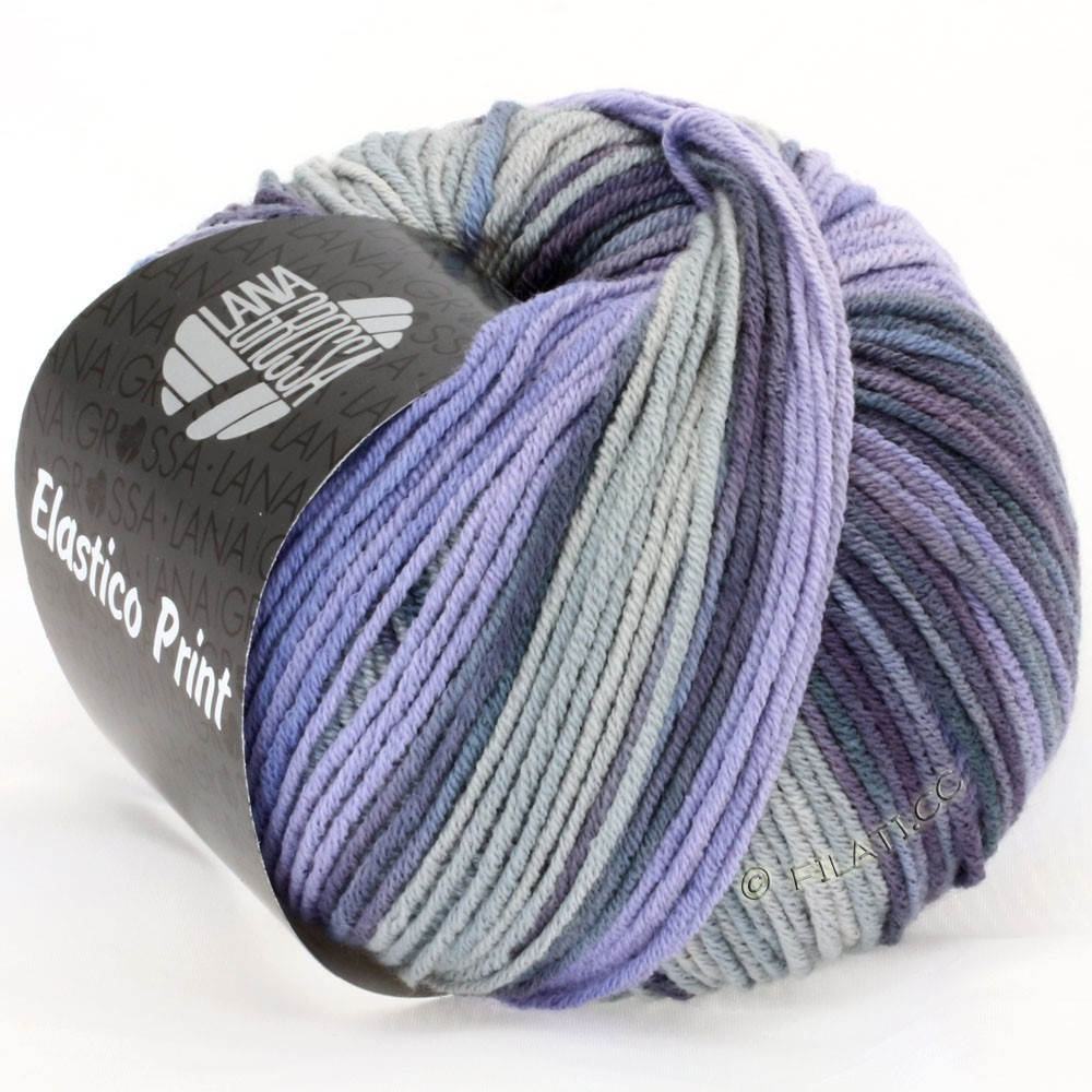 Lana Grossa ELASTICO Uni/Print | 504-lilac/gray violet/smoke blue/light gray