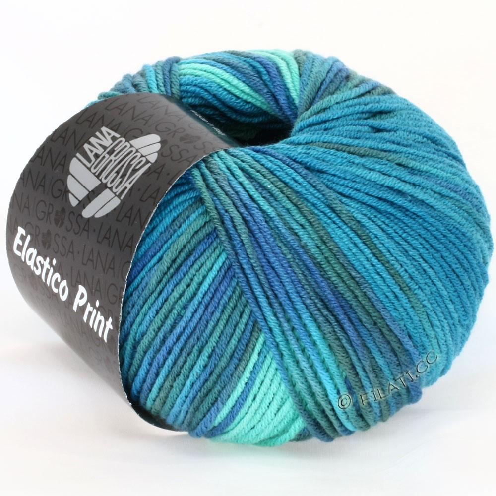 Lana Grossa ELASTICO Uni/Print | 506-turquoise green/turquoise blue/petrol/gray blue