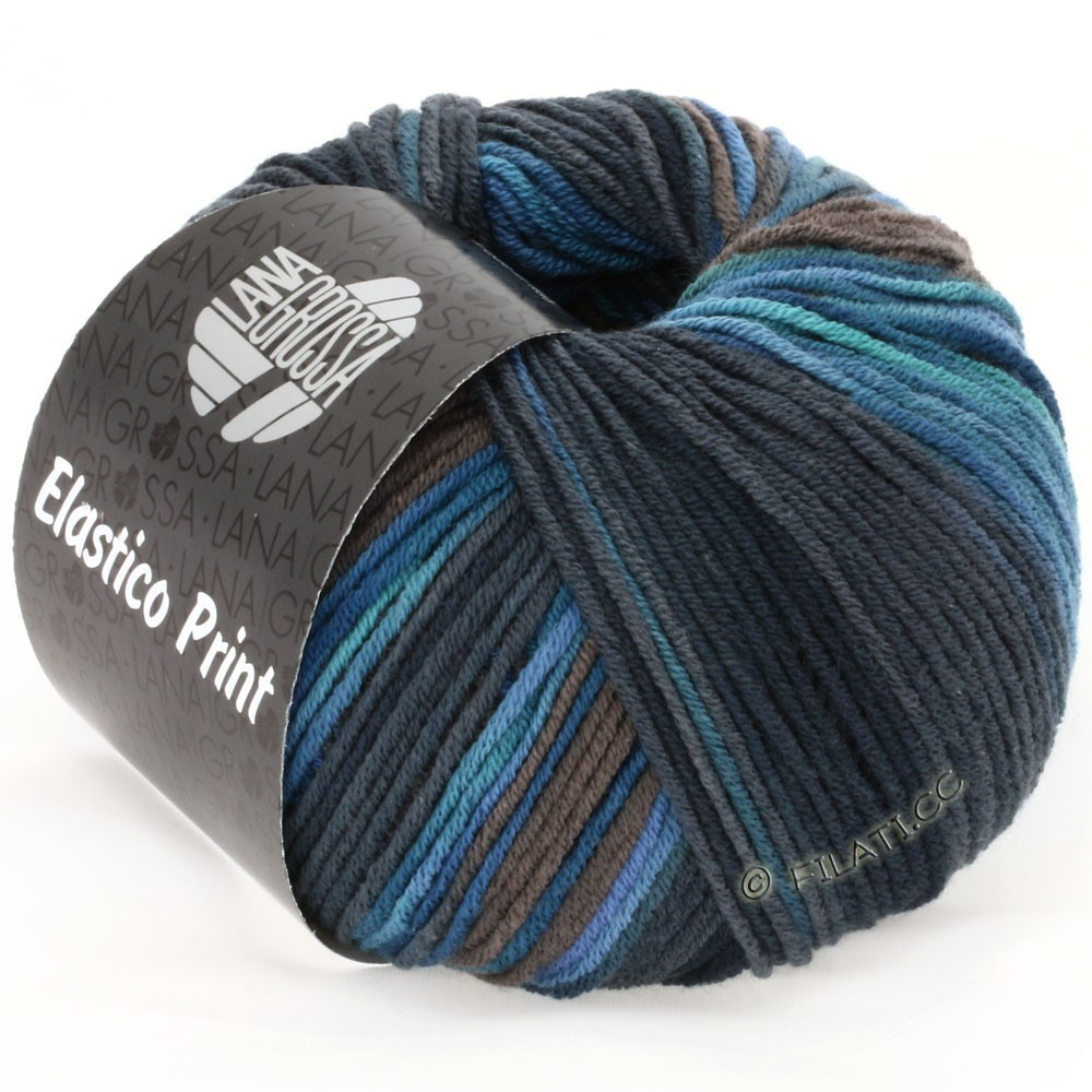 Lana Grossa ELASTICO Uni/Print | 508-jeans/petrol/dark gray/midnight blue
