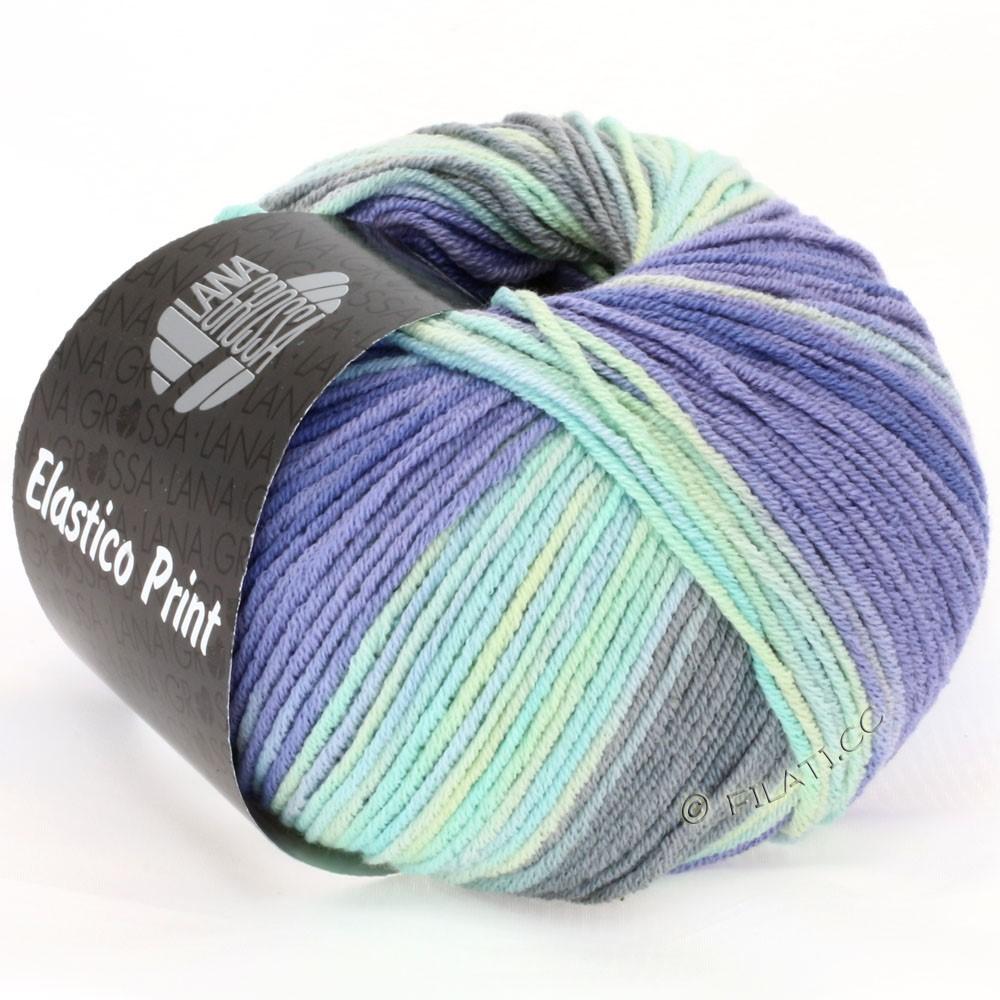 Lana Grossa ELASTICO Uni/Print | 512-mint/lavender/light gray/dark gray/light blue