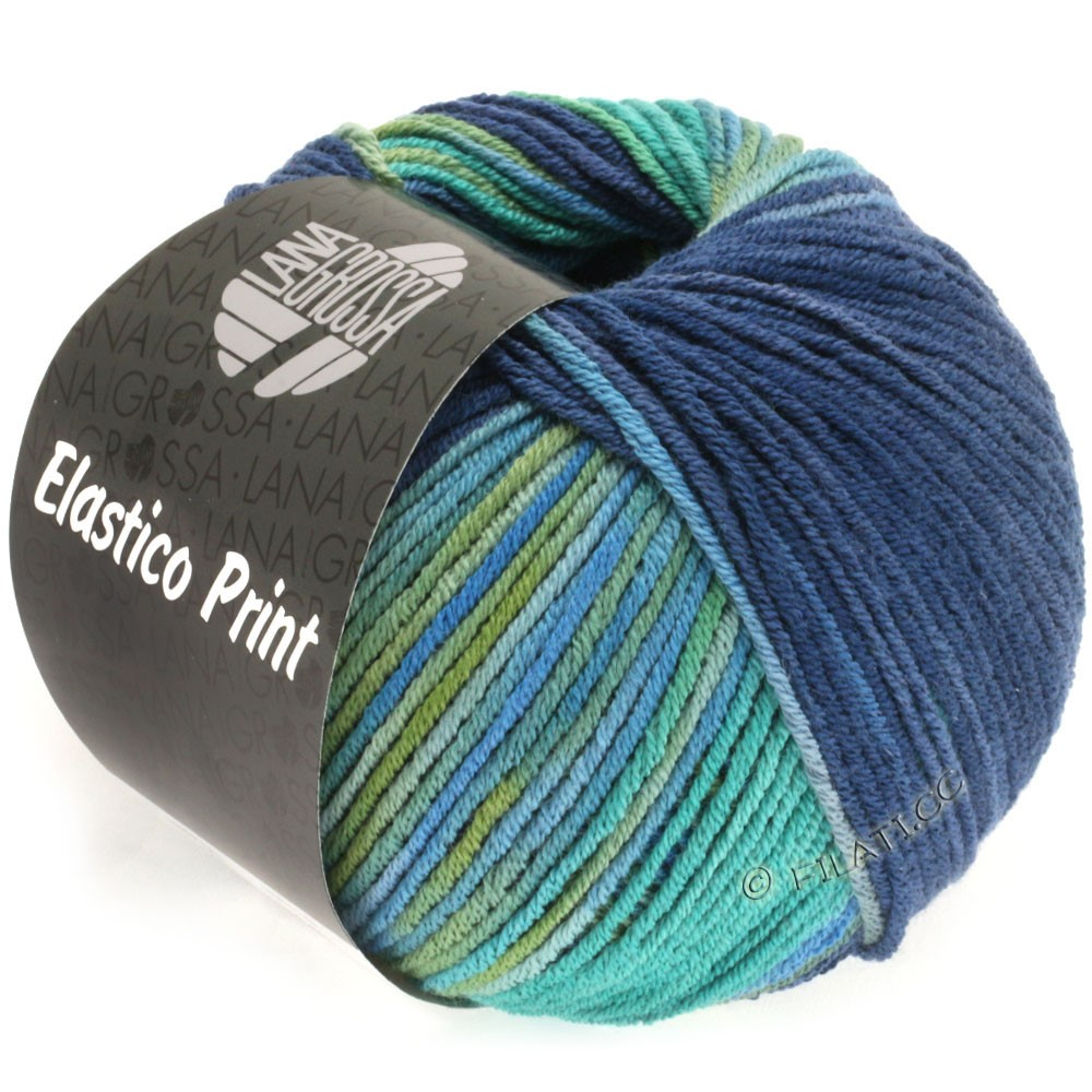 Lana Grossa ELASTICO Uni/Print | 514-opal green/petrol green/dark blue/night blue/olive