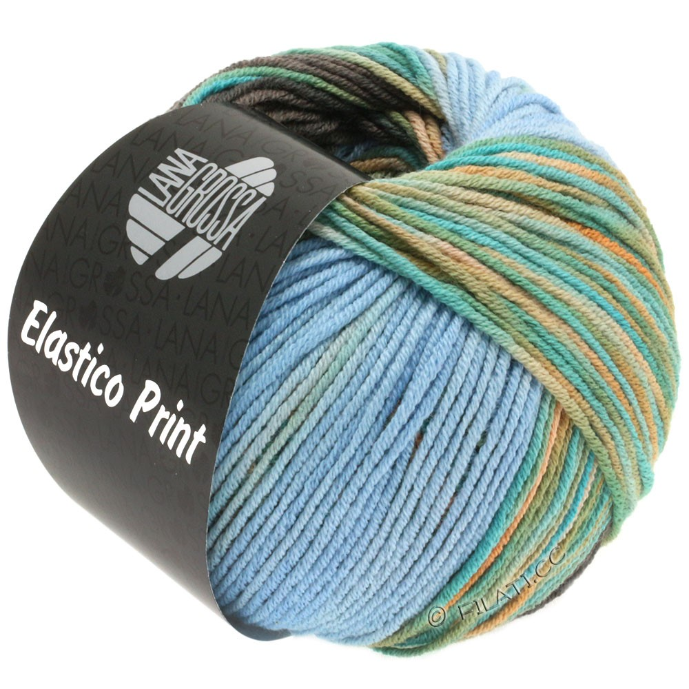 Lana Grossa ELASTICO Uni/Print | 518-light blue/gray brown/turquoise/camel/beige