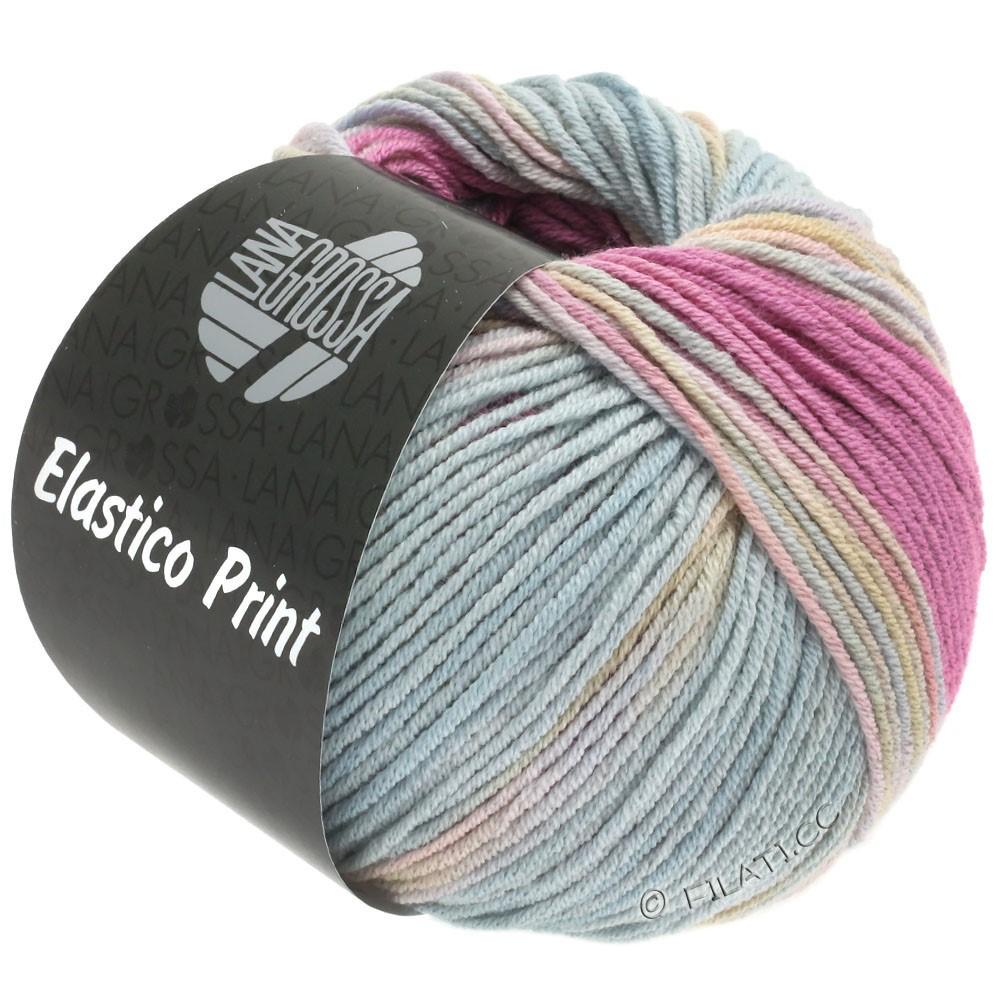 Lana Grossa ELASTICO Uni/Print | 521-pink/rose/gray blue/yellow green