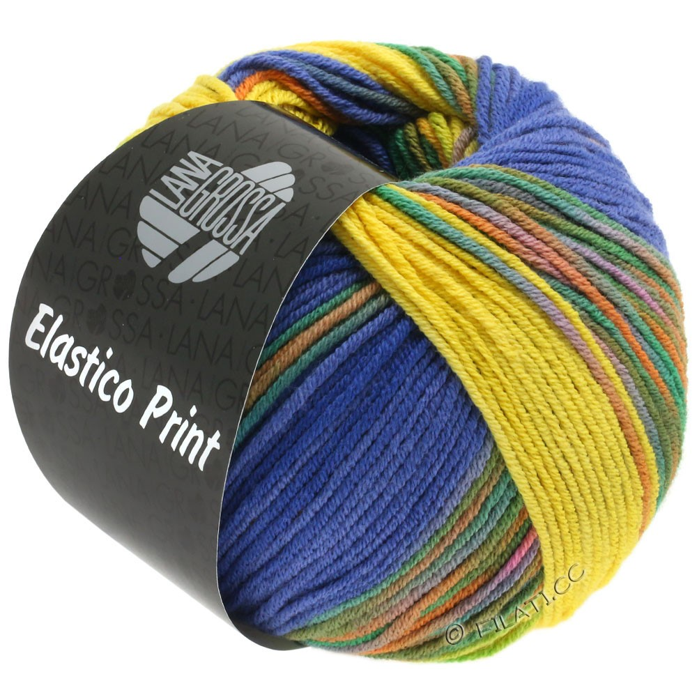 Lana Grossa ELASTICO Uni/Print | 523-yellow/blue violet/night blue/green/orange