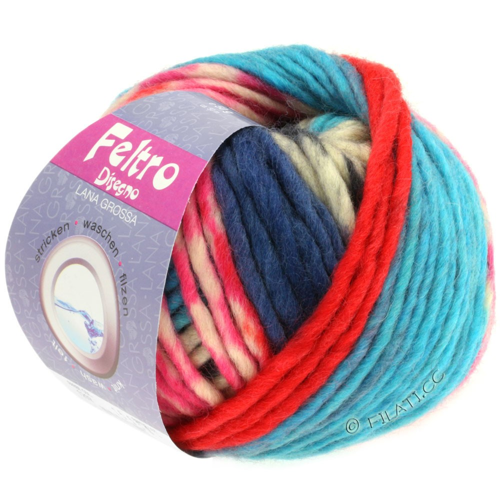 Lana Grossa FELTRO Disegno | 1202-raw white/black/pink/turquoise/dark blue