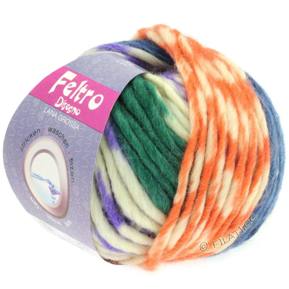 Lana Grossa FELTRO Disegno | 1205-purple/raw white/blue/green/yellow/peach