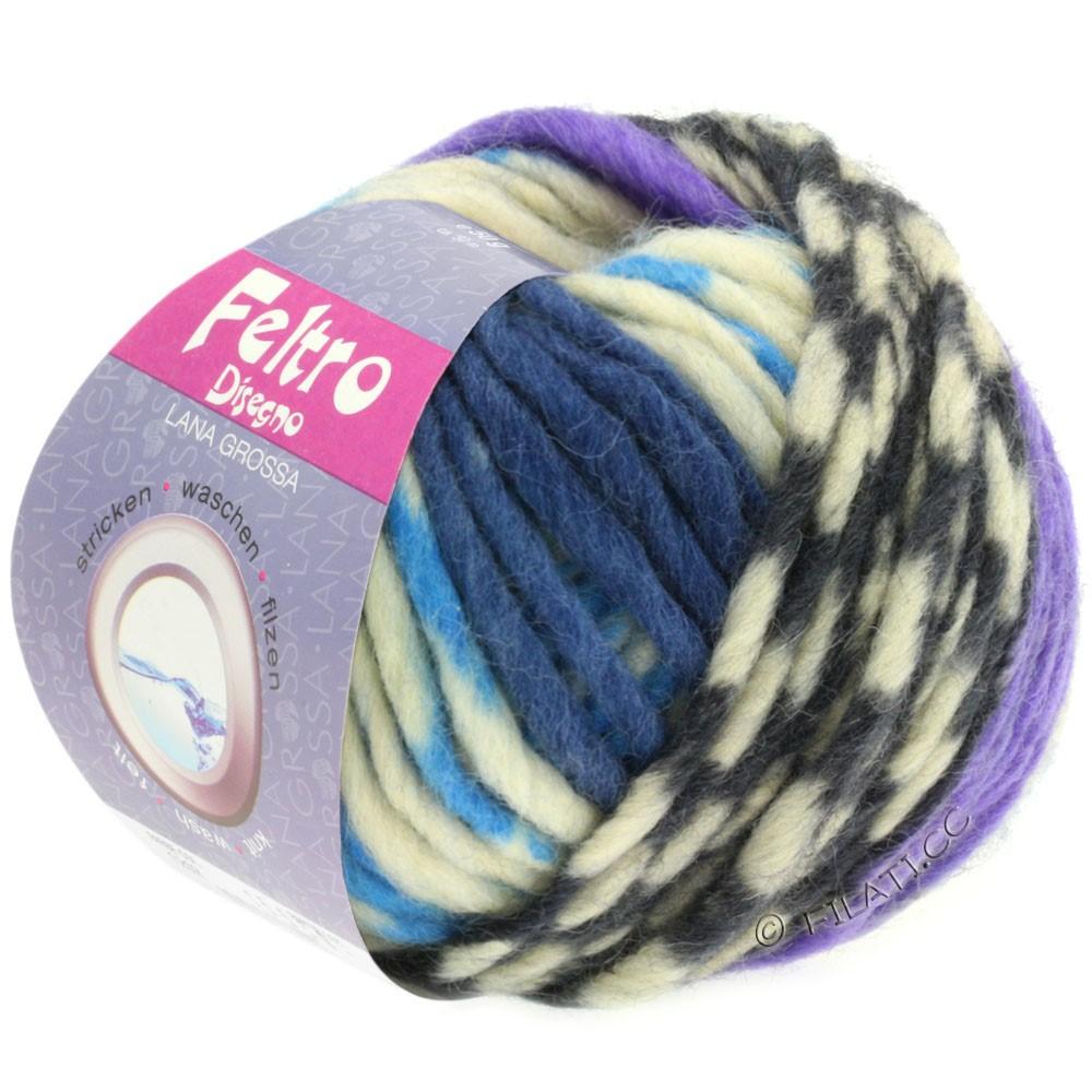 Lana Grossa FELTRO Disegno | 1206-raw white/light blue/purple/jeans/gray