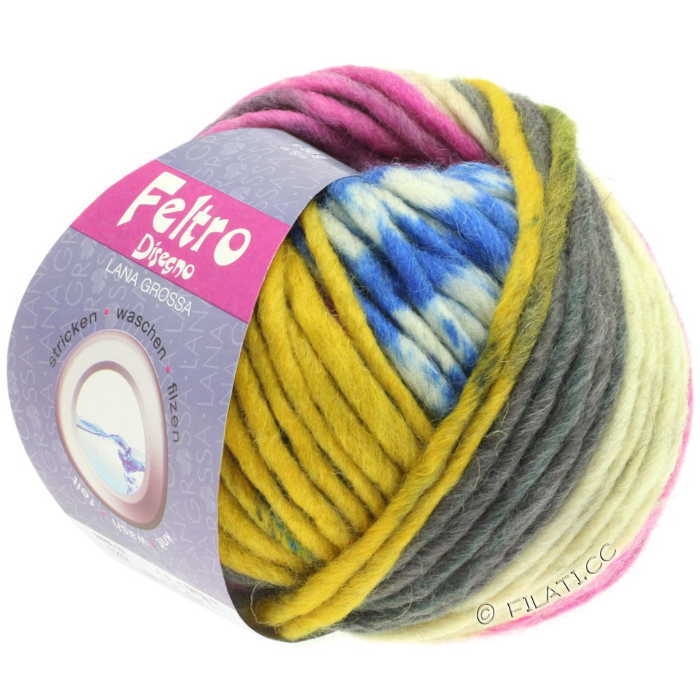 Lana Grossa FELTRO Disegno | 1209-raw white/anthracite/yellow/pink/blue