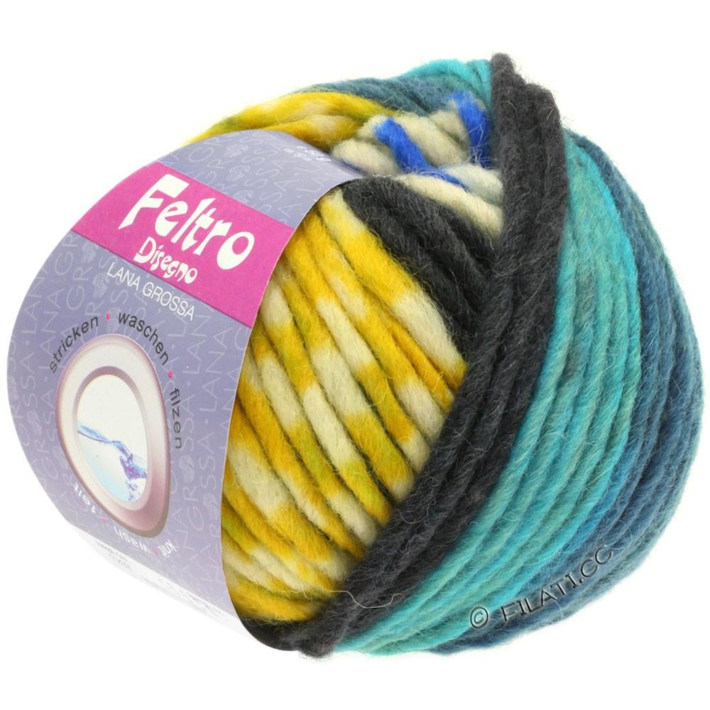 Lana Grossa FELTRO Disegno | 1210-raw white/petrol blue/mustard yellow/turquoise/blue