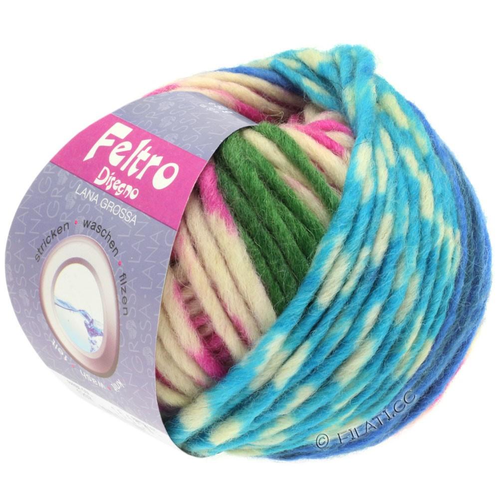 Lana Grossa FELTRO Disegno | 1211-raw white/turquoise/pink/blue/green