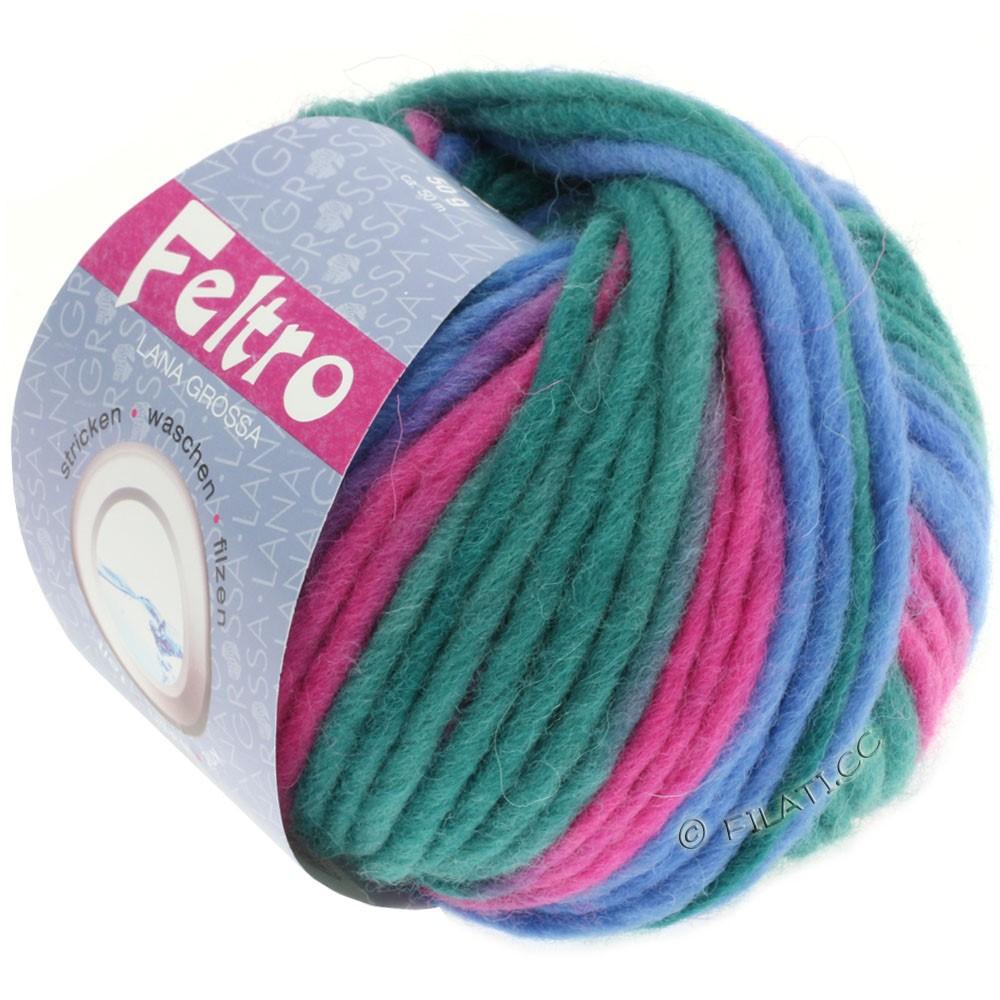 Lana Grossa FELTRO Print | 301-petrol green/royal/pink