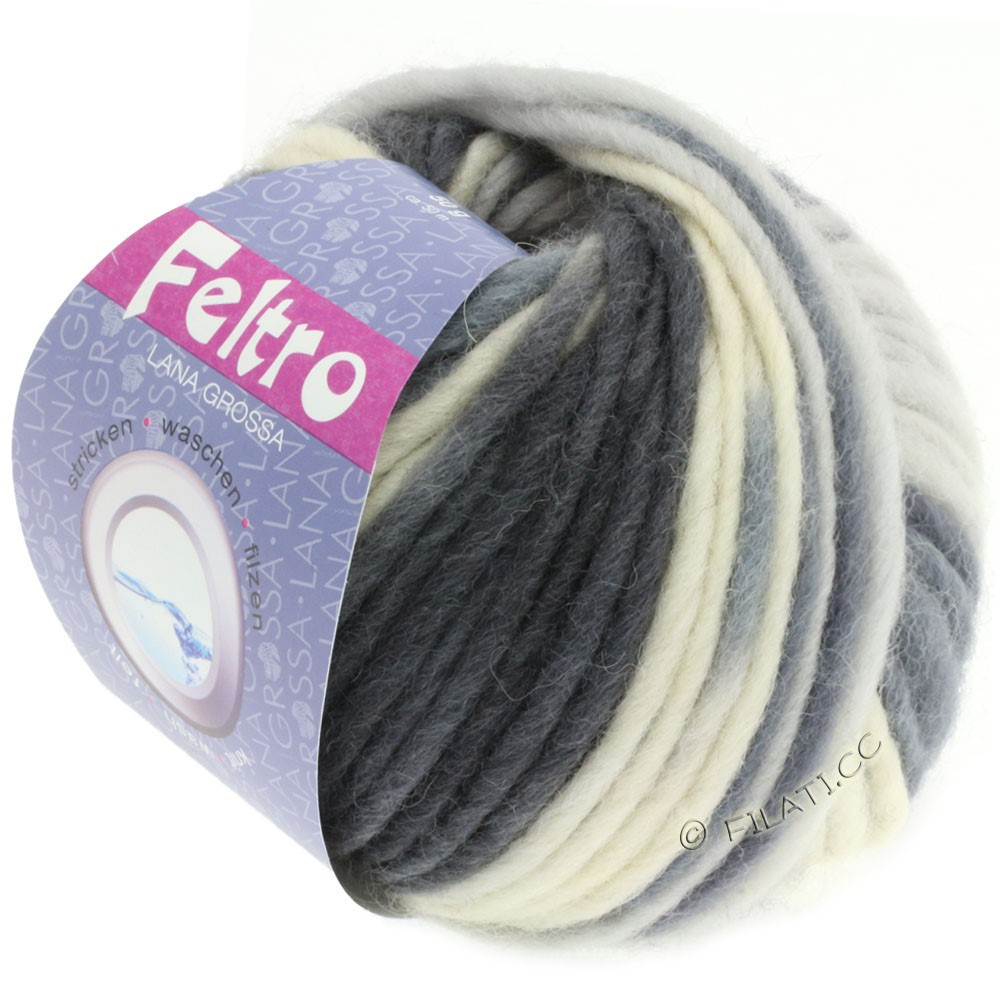 Lana Grossa FELTRO Print | 331-natural/gray blue/dark gray