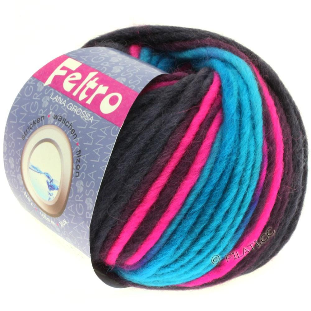 Lana Grossa FELTRO Print | 334-turquoise/pink/plum