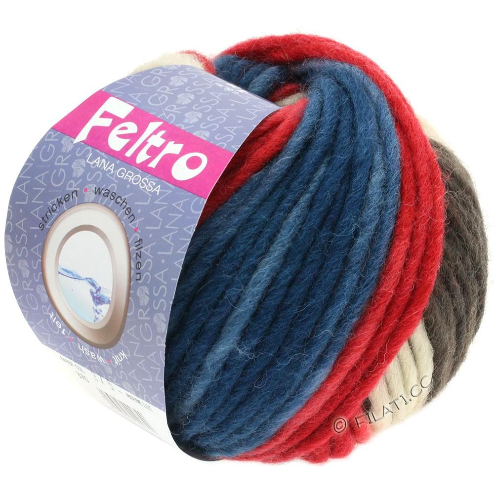 Lana Grossa FELTRO Print | 370-natural/raspberry/petrol blue