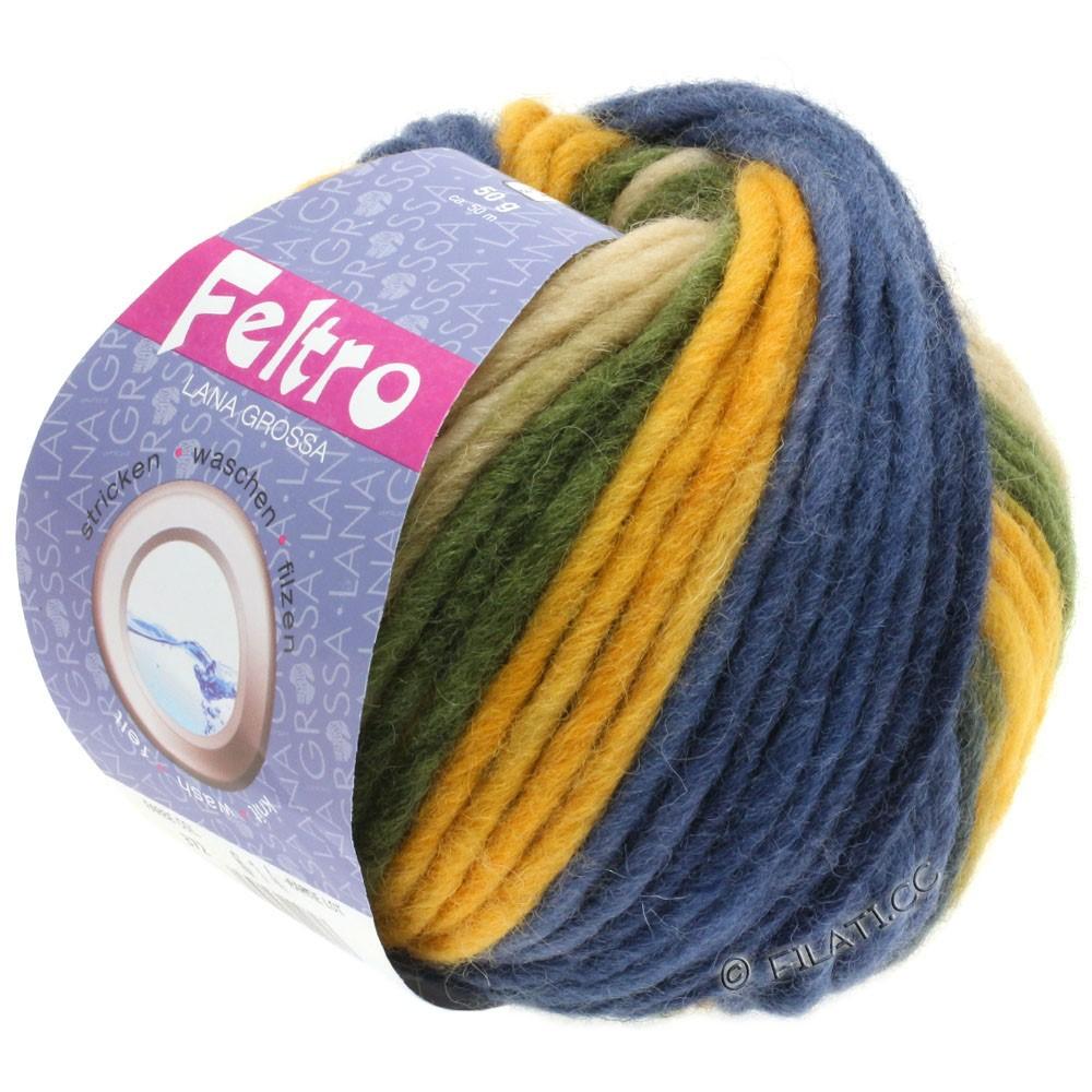 Lana Grossa FELTRO Print | 372-golden yellow/khaki/dark blue