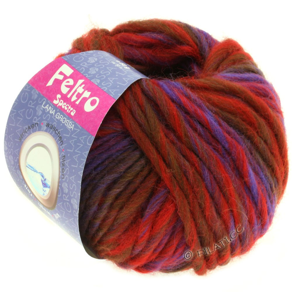 Lana Grossa FELTRO Spectra | 806-red/blue/violet/chocolate brown