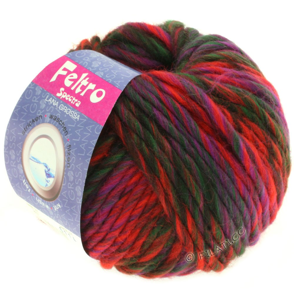 Lana Grossa FELTRO Spectra | 807-red/purple/bottle green/black brown