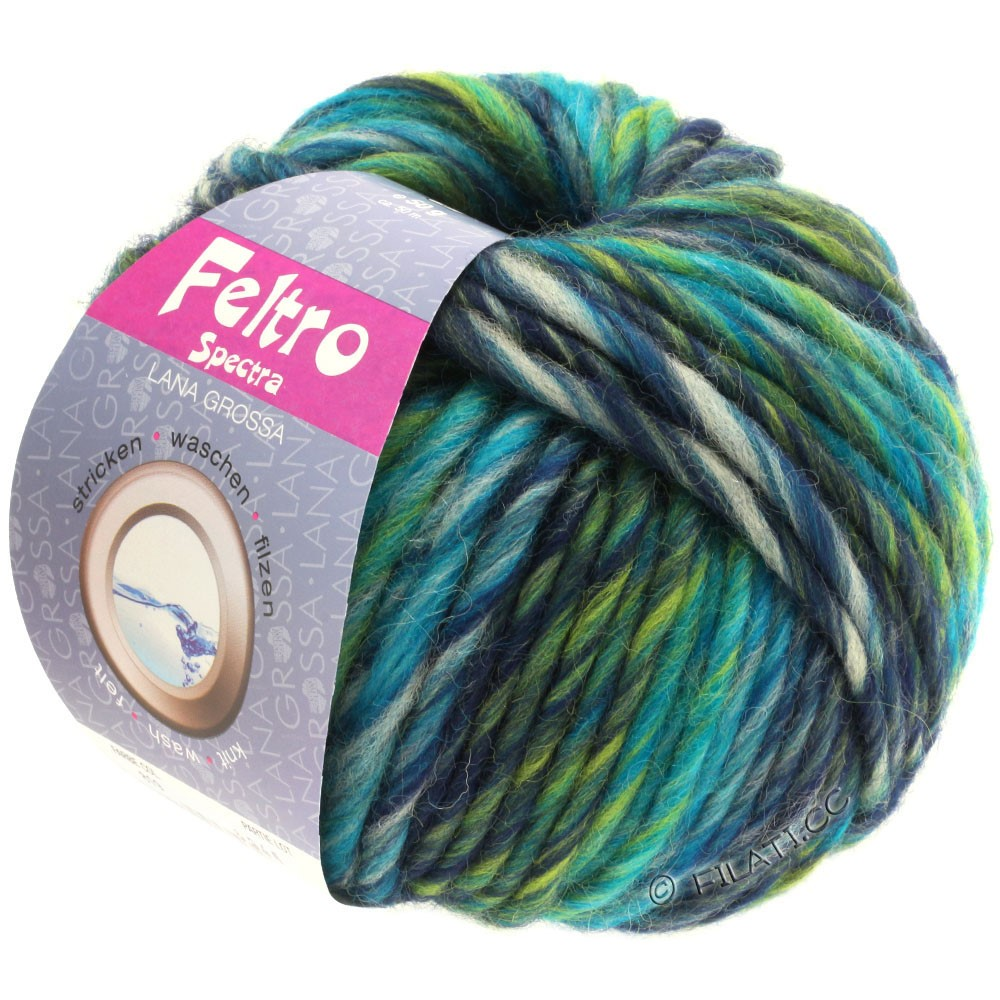 Lana Grossa FELTRO Spectra | 819-petrol/light gray/navy/yellow green