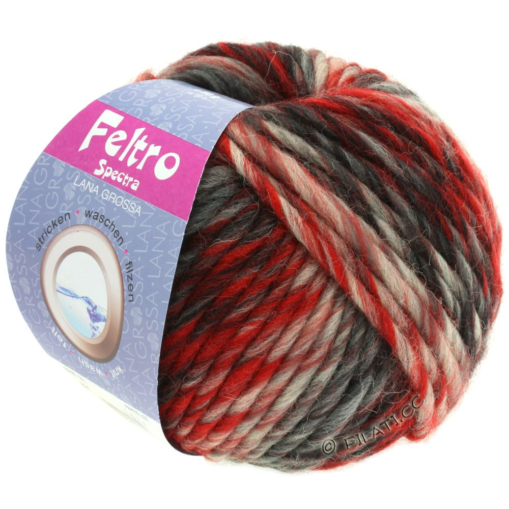 Lana Grossa FELTRO Spectra | 821-red/raw white/black/anthracite