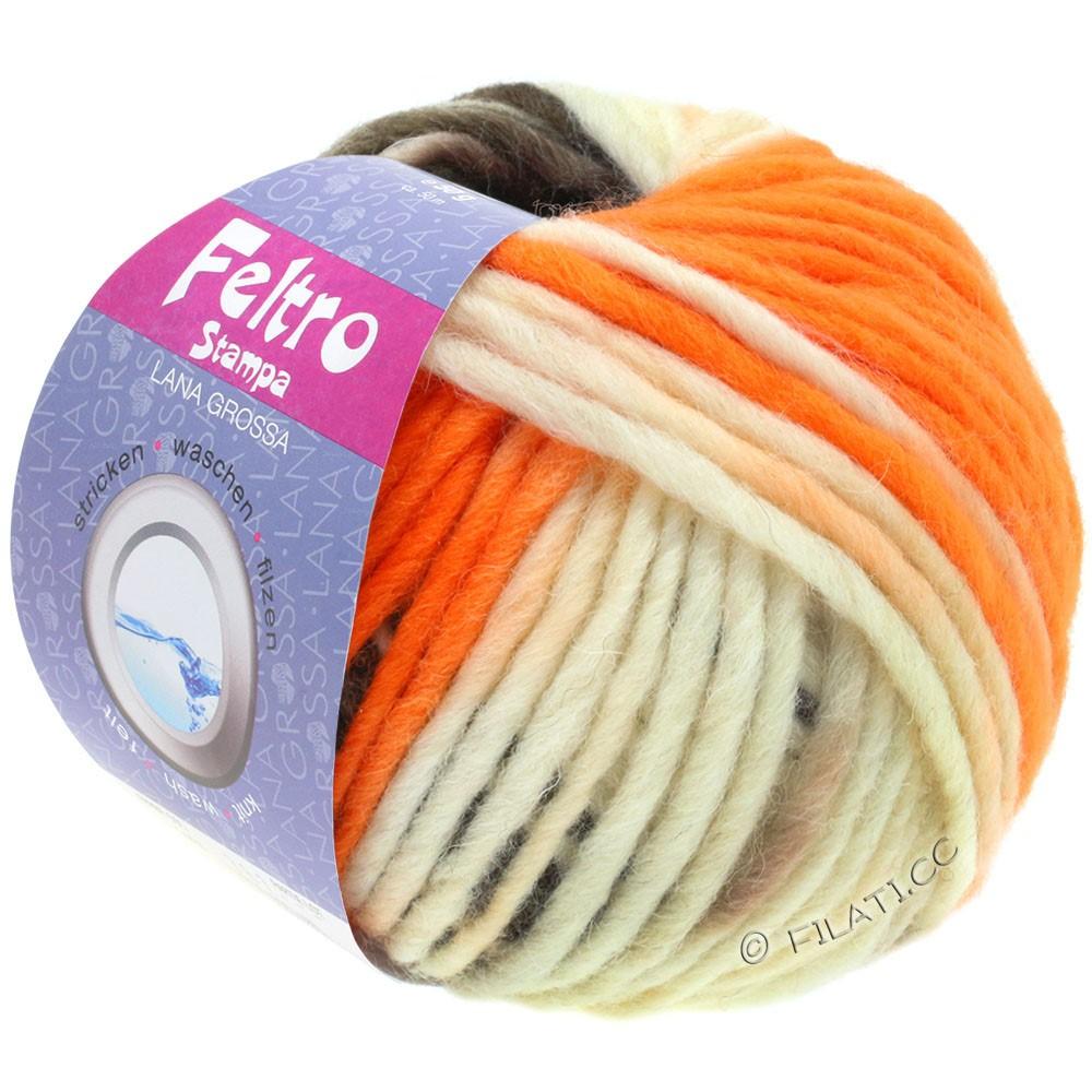 Lana Grossa FELTRO Stampa | 1401-raw white/orange/taupe/gray brown