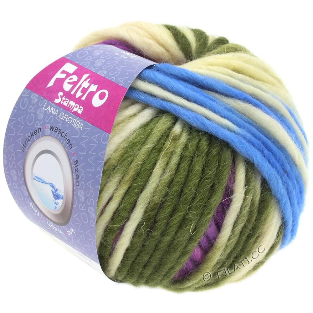 Lana Grossa FELTRO Stampa | 1402-raw white/light blue/purple/hay green