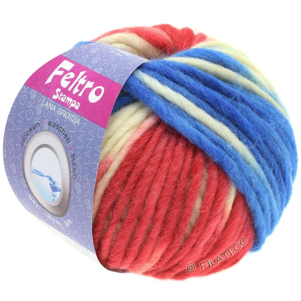 Lana Grossa FELTRO Stampa | 1403-raw white/raspberry/blue/gray
