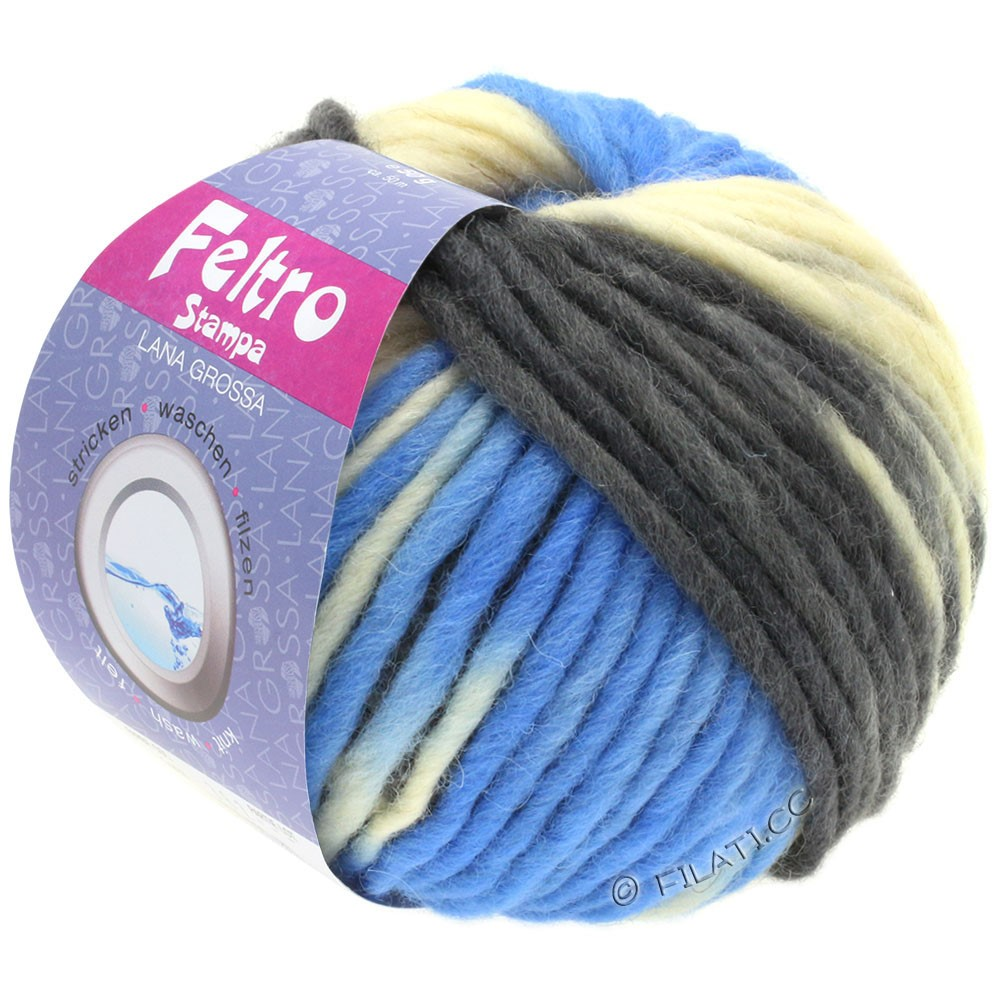 Lana Grossa FELTRO Stampa | 1404-raw white/light blue/anthracite/black