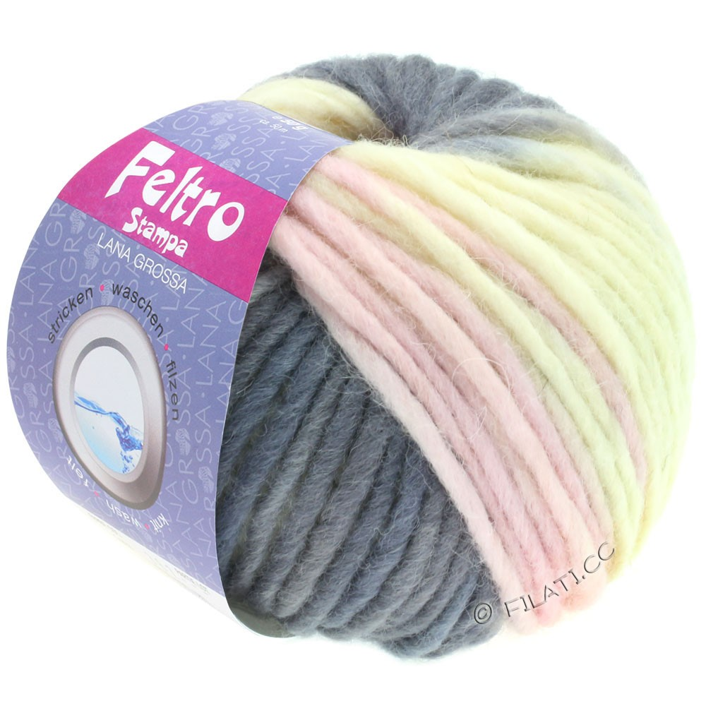Lana Grossa FELTRO Stampa | 1409-raw white/gray purple/subtle lilac/dark gray