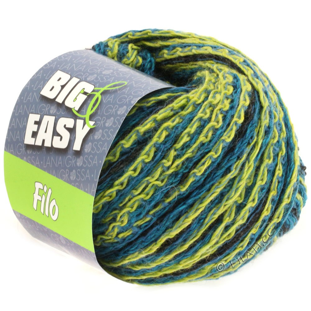 Lana Grossa FILO Multicolor (Big & Easy) | 104-blue/petrol/light green/anthracite