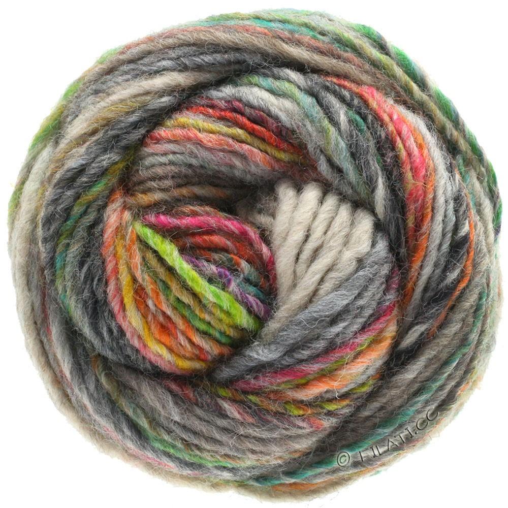 Lana Grossa GOMITOLO 100 | 103-gray green/light gray/green yellow/emerald/orange/anthracite