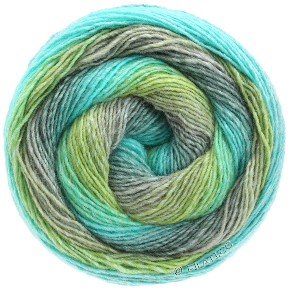 color azul Lana Grossa Gomitolo Versione Ovillo de lana 200 g, con degradado de color y coraz/ón