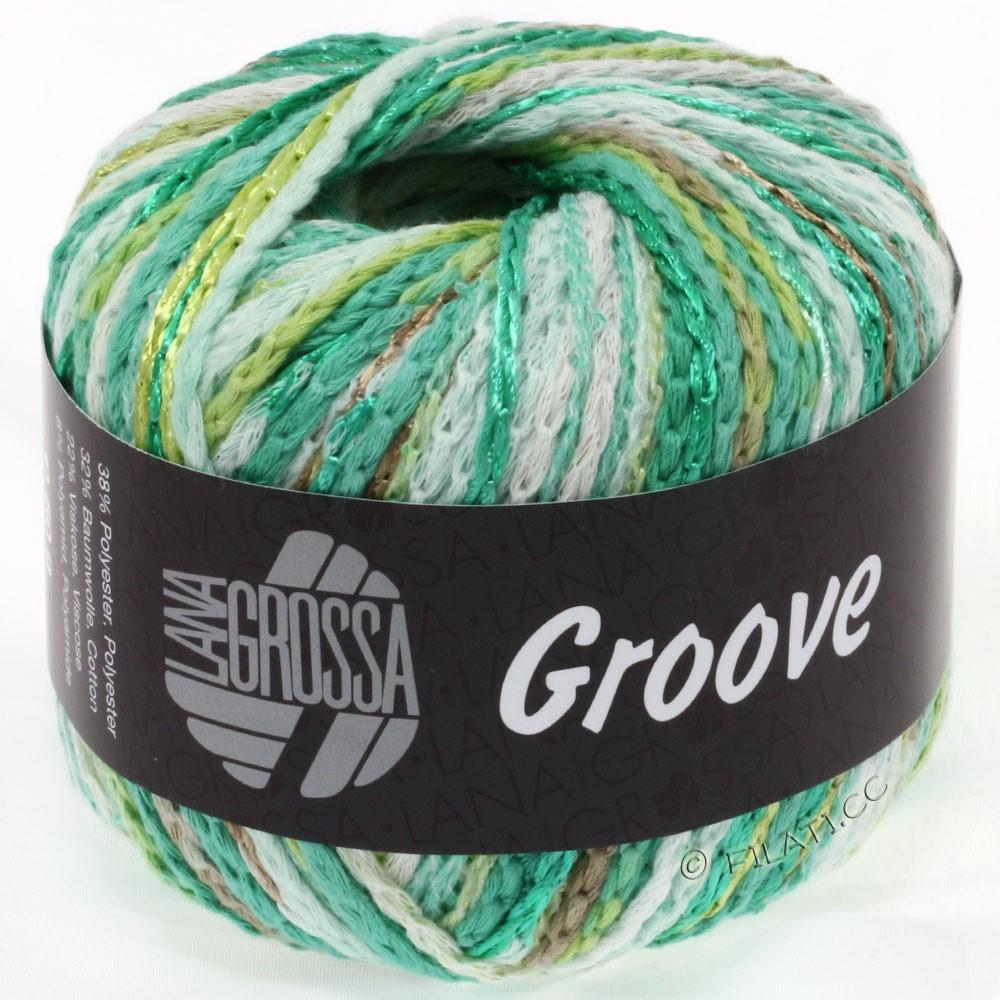 Lana Grossa GROOVE | 01-white/emerald/yellow green/brown