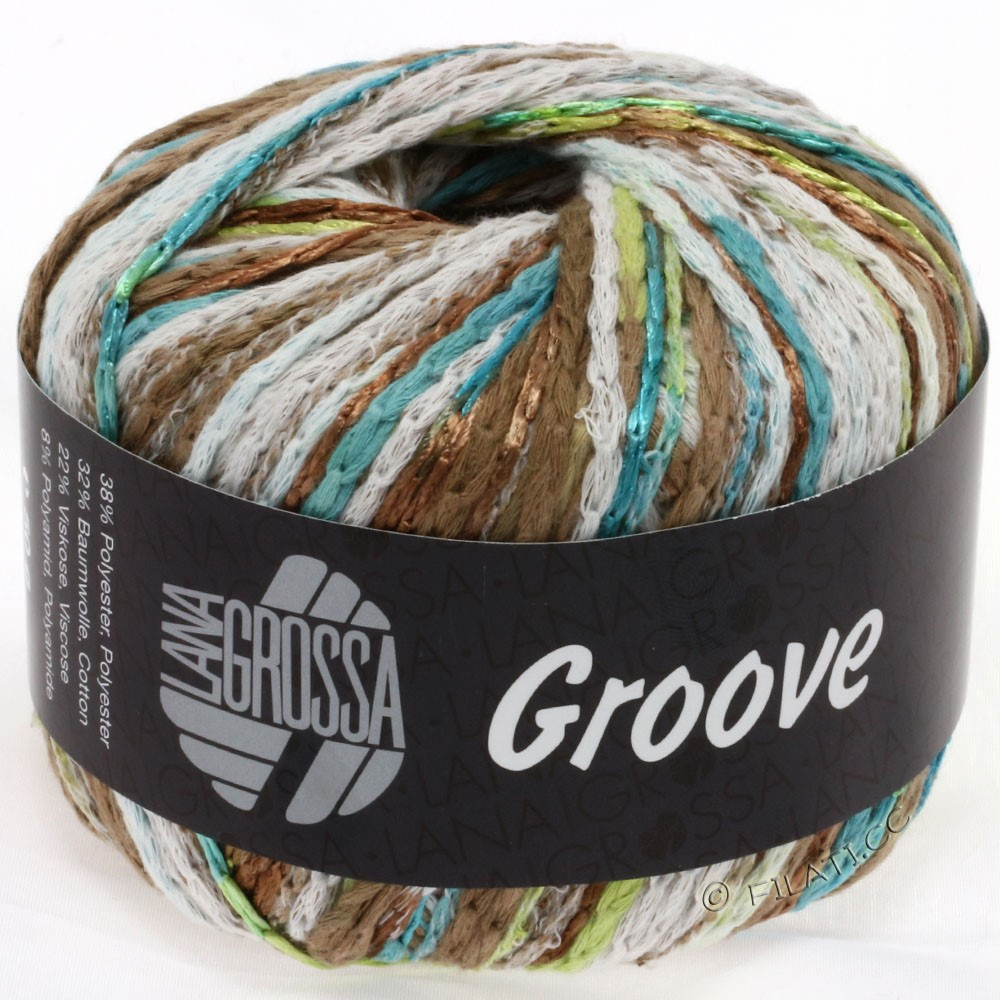 Lana Grossa GROOVE | 02-petrol/turquoise/light brown/linden green
