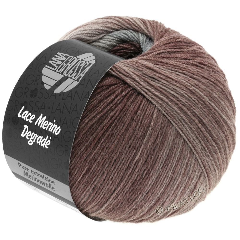 Lana Grossa LACE Merino Degradé | 401-gray beige/pearl gray/tulipwood