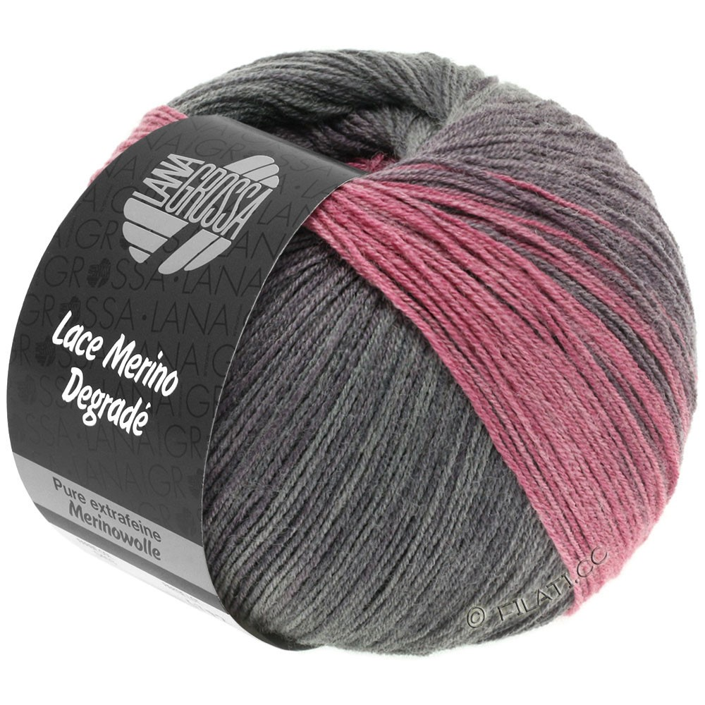 Lana Grossa LACE Merino Degradé | 405-blackberry/anthracite/gray purple/antique pink