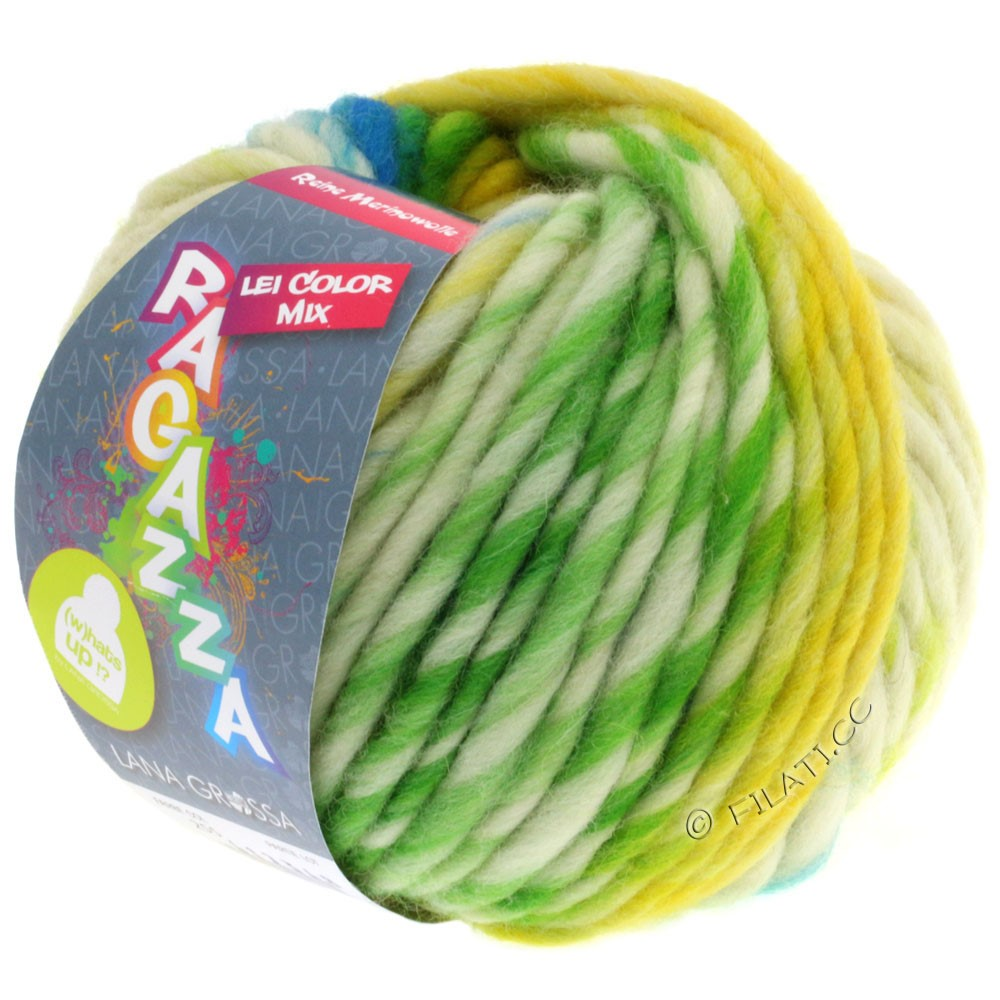 Lana Grossa LEI Mouliné/Color Mix/Spray (Ragazza)   255-yellow/natural/turquoise/yellow green