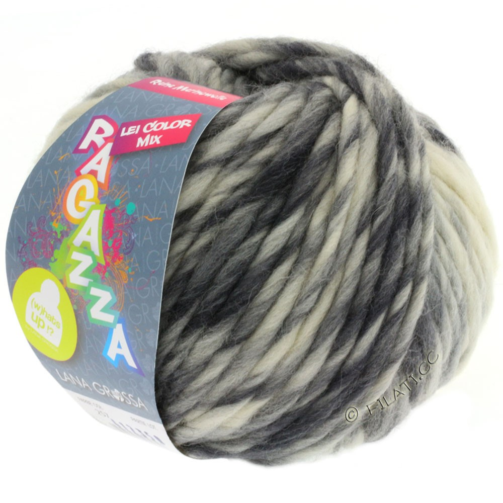 Lana Grossa LEI Mouliné/Color Mix/Spray (Ragazza) | 257-raw white/light-/medium gray/anthracite