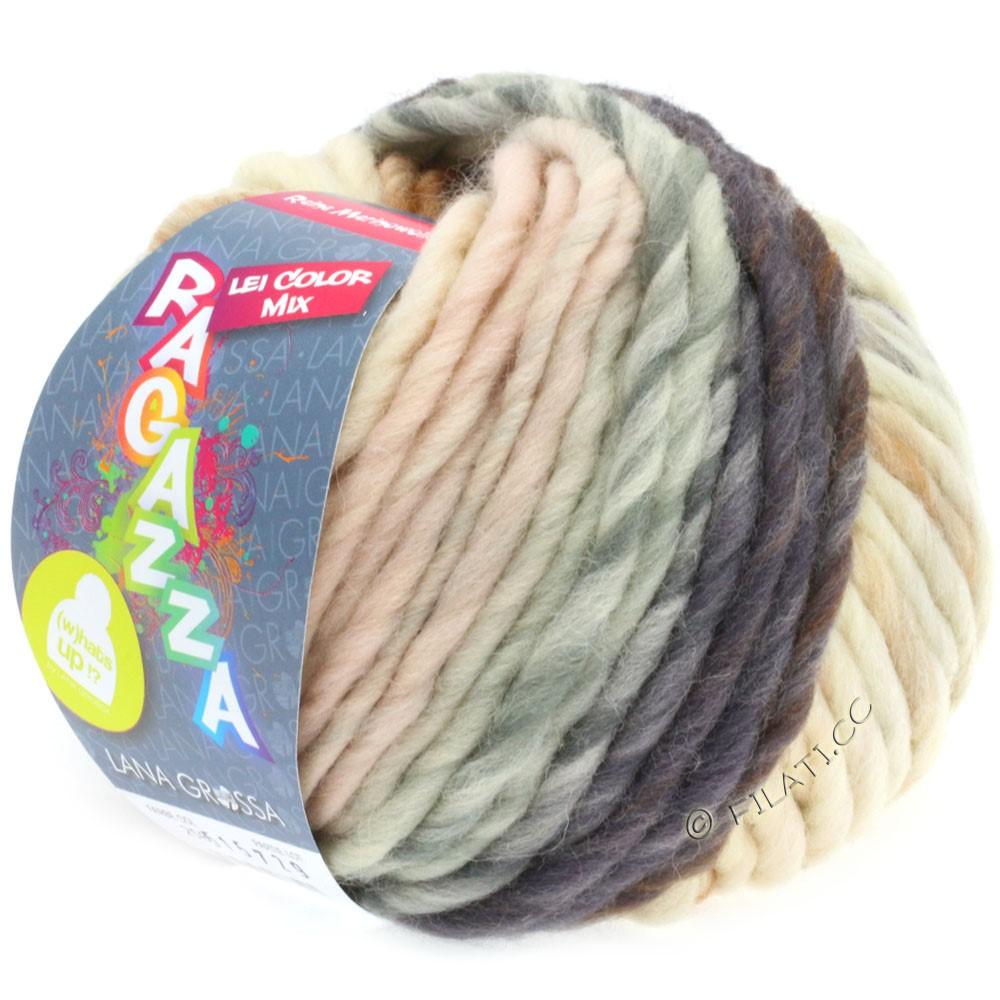 Lana Grossa LEI Mouliné/Color Mix/Spray (Ragazza) | 258-raw white/pale pink/golden brown/blue violet
