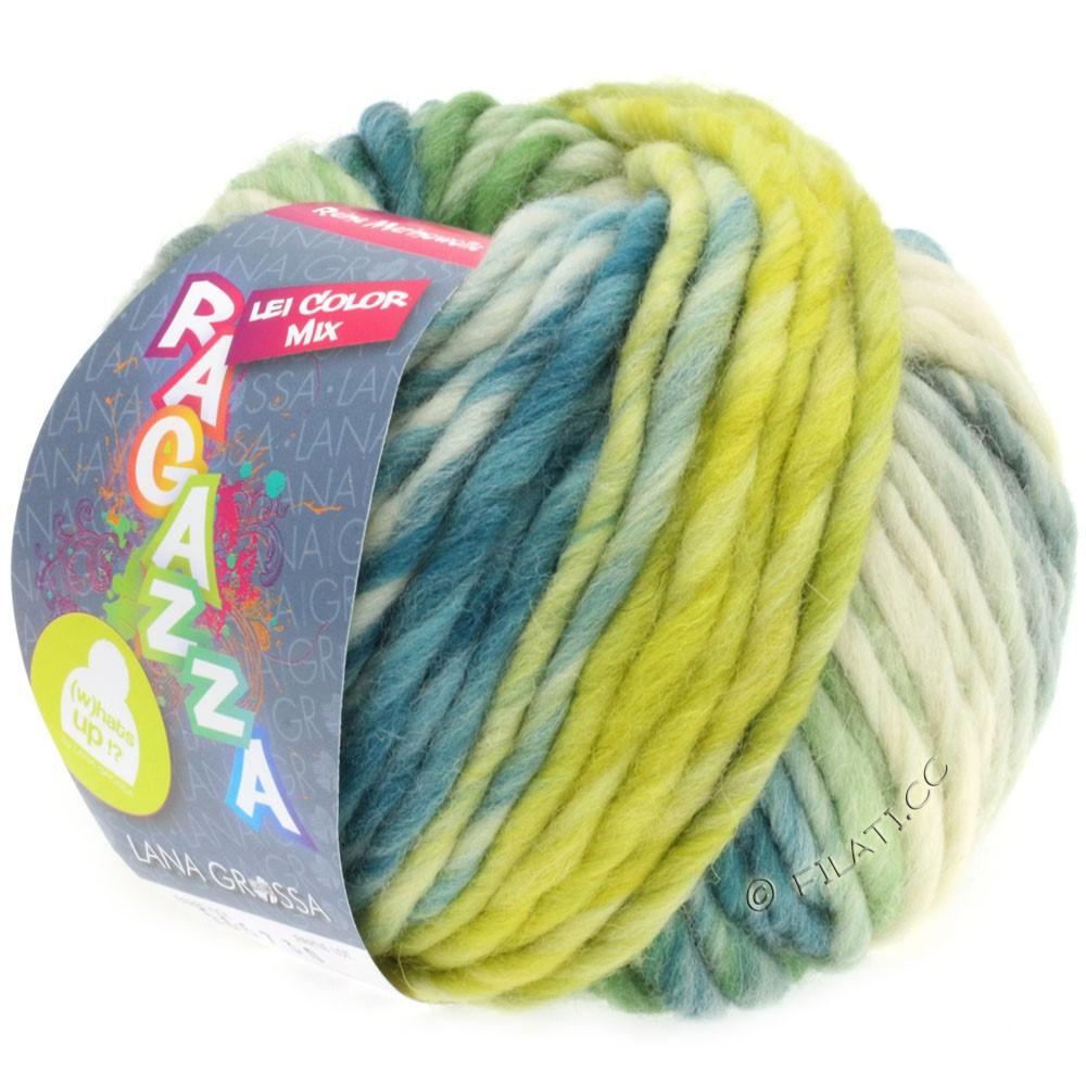 Lana Grossa LEI Mouliné/Color Mix/Spray (Ragazza) | 260-raw white/lemon yellow/petrol/green