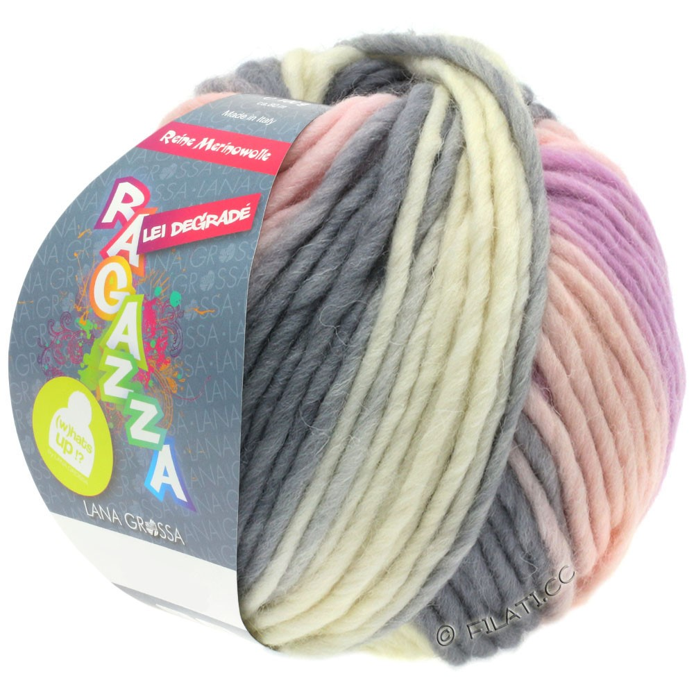 Lana Grossa LEI Degradé (Ragazza) | 502-raw white/rose/lilac/dark gray