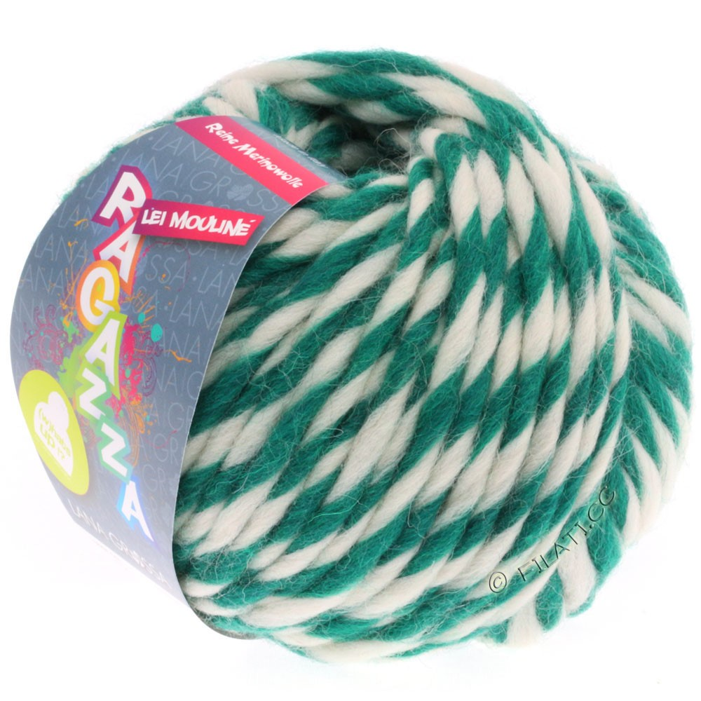 Lana Grossa LEI Mouliné/Color Mix/Spray (Ragazza) | 654-dark green/raw white