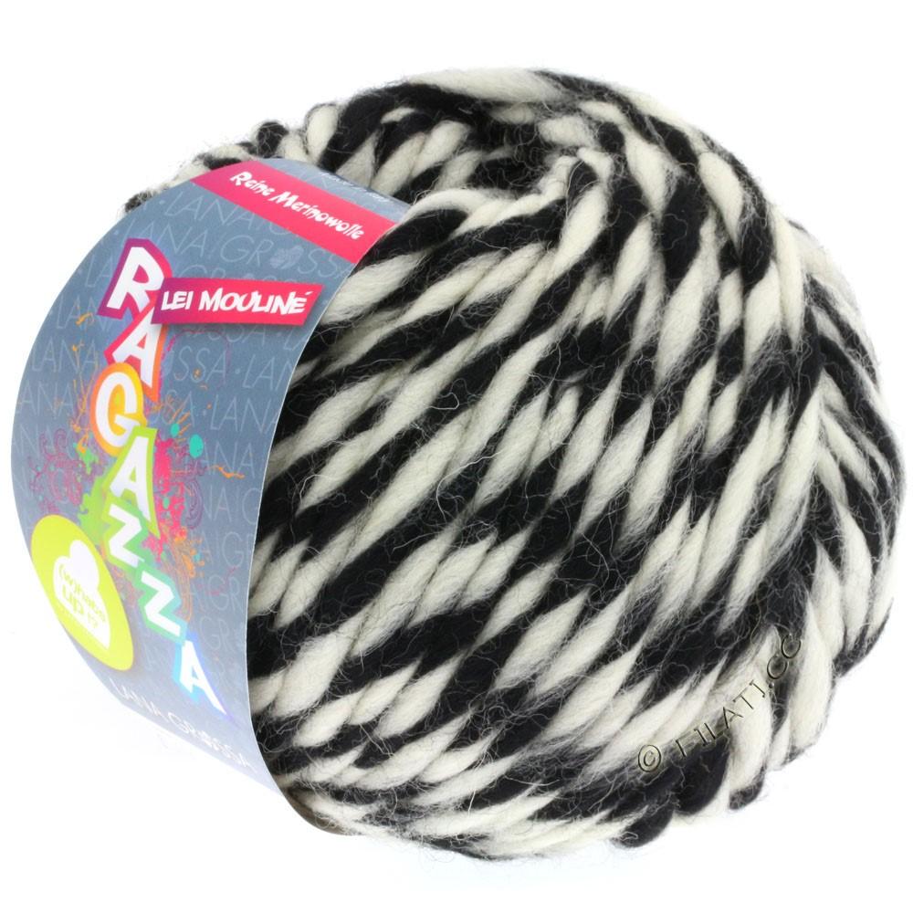 Lana Grossa LEI Mouliné/Color Mix/Spray (Ragazza) | 660-black/raw white