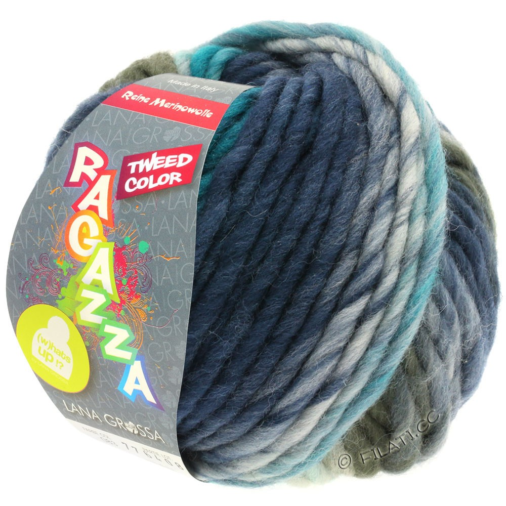 Lana Grossa LEI Tweed Color | 403-light blue/blue gray/dark blue mottled