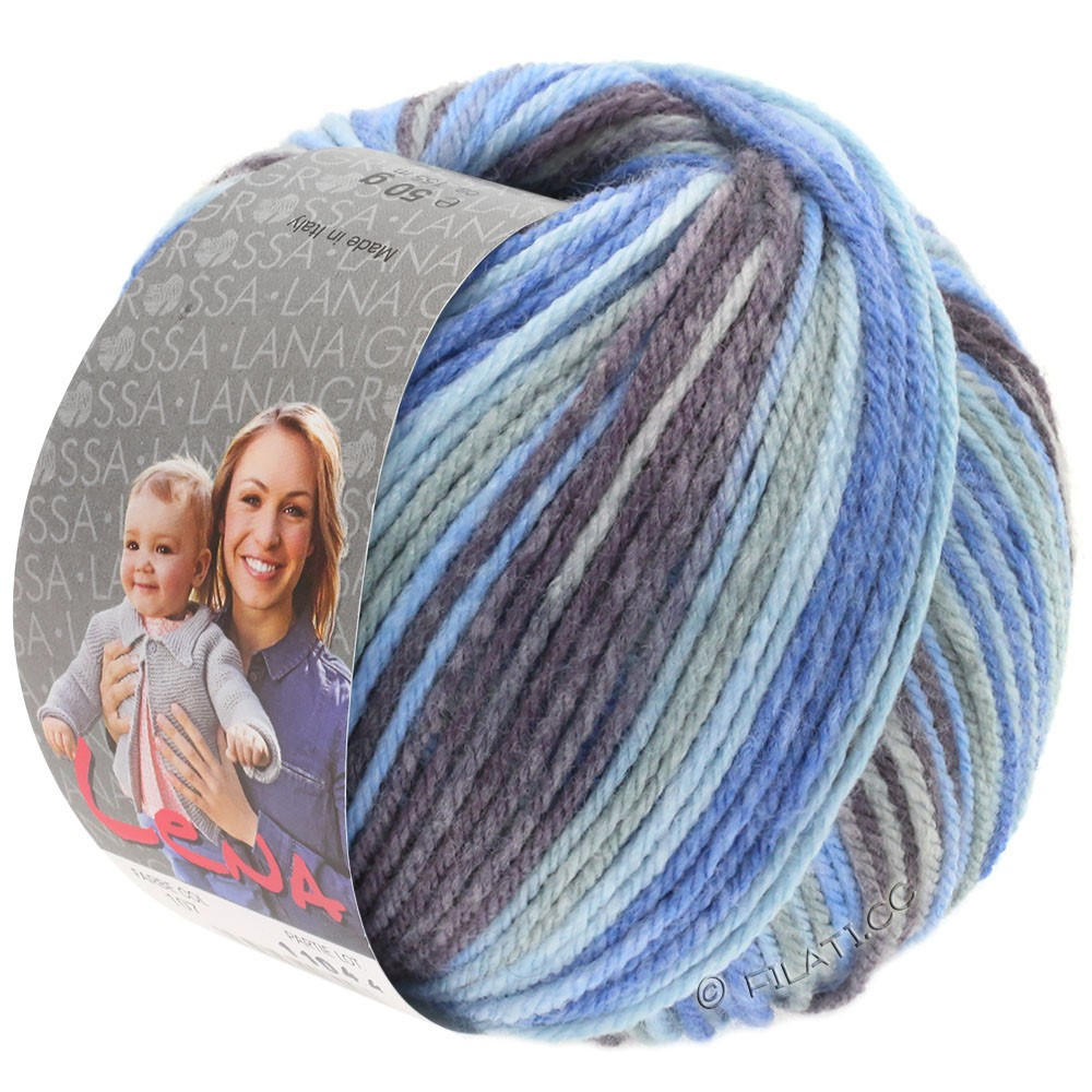Lana Grossa LENA Print | 105-light gray/jeans/light blue/gray purple
