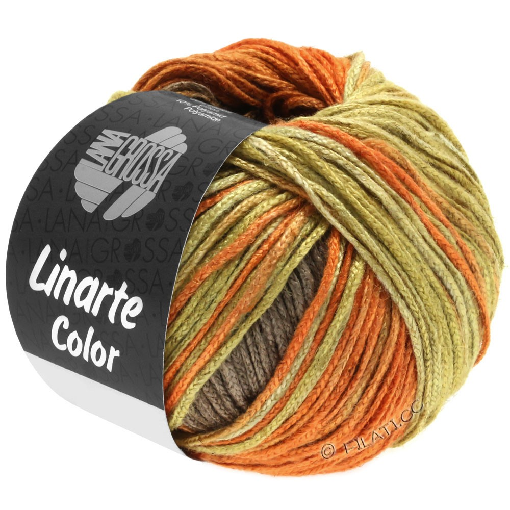 Lana Grossa LINARTE Color | 203-olive yellow/signal orange/copper brown/gray brown