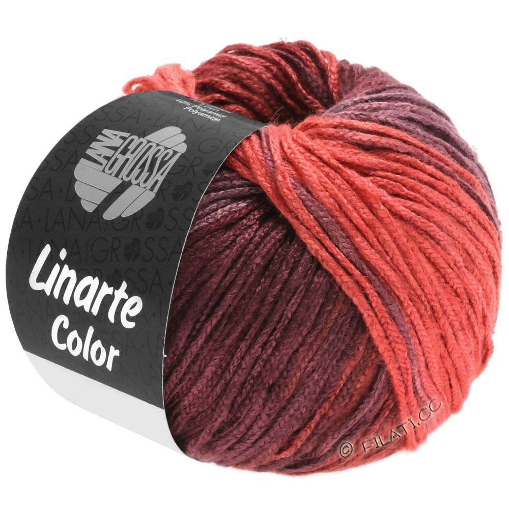 Lana Grossa LINARTE Color | 204-strawberry red/bordeaux violet/wine red/pearl ruby red