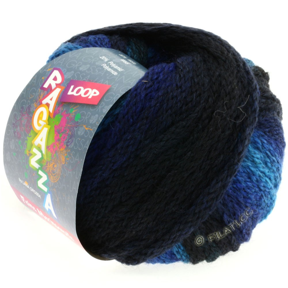 Lana Grossa LOOP (Ragazza) | 07-petrol blue/black blue